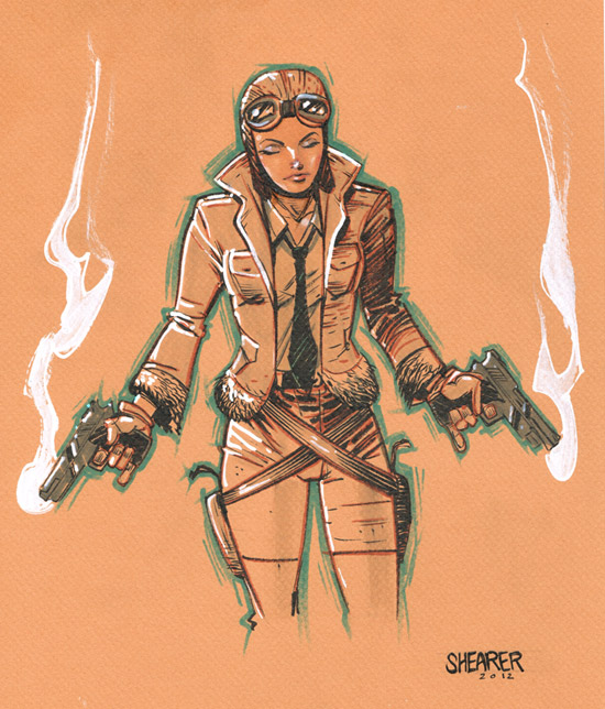 Daily Sketch: Pilot Girl with Guns