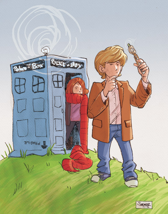 Daily Sketch: Doctor Who and Amy Pond